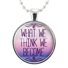 What We Think We Become Necklace, Inspirational Buddhist Saying Jewelry, Buddha