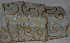 "Wired Ribbon~Ivory~Gold Metallic Swirl~2.5""~Christmas ~Wreath~Holiday~Gift~Bow"