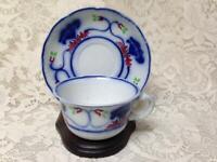 Antique,18th C, Rare, Adam & Co., Flow Blue, Floral Cup and Saucer