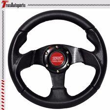 280MM JDM Black PVC Carbon Look 6 Hole Bolt On Steering Wheel W/ Red Emblem