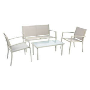 Scarlino garden lounge set armchairs sofa and brown outdoor table
