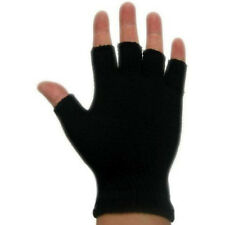 Womens Ladies Plain Thermal Fingerless Knitted Winter Warm Half Finger Gloves