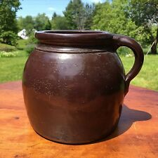 Antique 19th Century New England One Handle Brown Stoneware Bean Pot