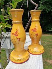 "Pair Demdaco ""Bienvenue"" Pottery Candlesticks Italy  Retired Italian Rustic"