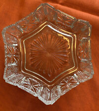 Vintage Avon Fostoria Clear Glass Six Sided Candy Trinket Bowl Candle Holder