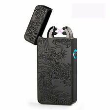 Electric Dual Arc Rechargeable Windproof Plasma Lighter Flameless USB Gift Black