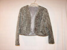 Gray Textured Faux Fur Dress Lined JACKET Size Junior Small ~ Evening Jacket