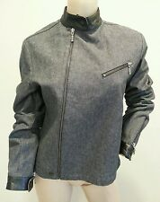 Rudsak Collection Black Denim Leather Trim Moto Motorcycle Cafe Style Jacket M