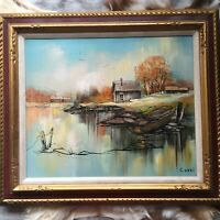 Original Vintage Oil Painting Signed by Artist Cozzi, Framed Matted Art, Scenery