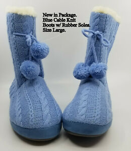 New in Pkg Women's Blue Cable Knit Boots Fleece Lined w/ Rubber Soles Size Large