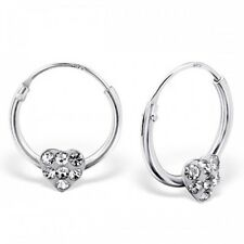 Childrens Girls Sterling Silver Small Hoop Earrings & Clear Crystal Heart -Boxed