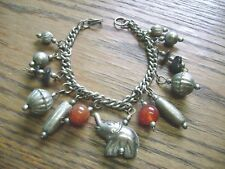 beaded Lucky Elephant Charm Bracelet Vintage black,brown gem stone metal