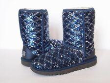 UGG Australia Classic Short Sparkles Stiefel Frauen 6 Blau Silber Pailletten Glänzend Flip