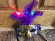 Halloween LED Mask Girl Masquerade Party Purple Feather Light Up Rave Masks