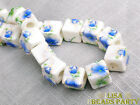 20pcs 10mm Porcelain Blue Cube Square Ceramic Porcelain Big Hole Loose Beads
