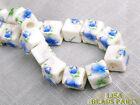 20pcs 10mm Porcelain Blue Cube Square Ceramic Porcelain Big Hole Loose Beads