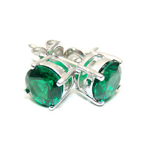 Emerald Stud Earrings Diamond Unique 2ct Solitaire  9ct Gold UK Manufactured