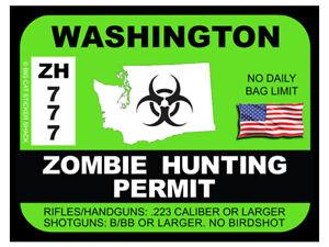 Washington Zombie Hunting Permit (Bumper Sticker)