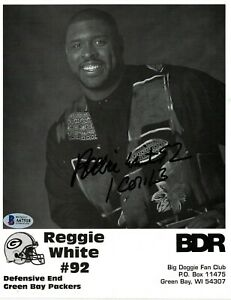 REGGIE WHITE #92 BECKETT (BAS) CERTIFIED SIGNED 8X10 PHOTOGRAPH AUTOGRAPHED HOF