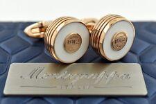 Montegrappa Piacere Rose Gold Ion Plating White Inlay Gunmetal Emblem Cufflinks