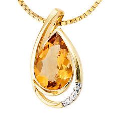 NEU Anhänger Tropfen Edelstein Citrin 585 Gold Gelbgold 4 Diamanten 14 Karat