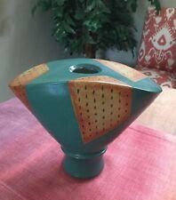 Vintage 80's Unique Large Hand Made Ceramic Vase, Blue-Green Tan Rust Design