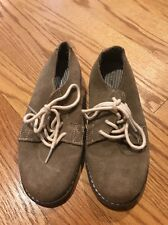 Cherokee Saddle Oxfords Loafers Khaki Suede Leather Nubuck Boys Shoes Size 3 #