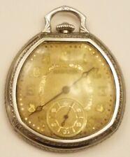 Hamilton 12s 912 17J Pocket Watch w/ 14K White Gold Filled Wadsworth Case ~ Runs