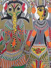 "Madhubani mithila dipinto 'GANESHA & Lakshmi' handmade indian Folk Art 22"" pollici"
