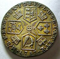1787 One Shilling Great Britain.  Very Solid Details for the Age AU???  AE-520