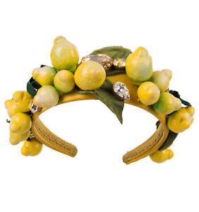 DOLCE & GABBANA RUNWAY Lemon Crystals Headband Hairband Crown Yellow 07792