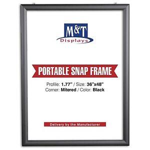 "Portable Snap Frame, 36x48 Size, 1.77"" Profile, White Backing, Anti-Glare, Black"