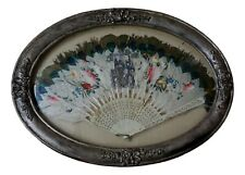Antique Chinese Export Hand Fan Carved Figural on Peacock Feathers