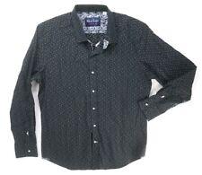 NEW ROBERT GRAHAM BLACK WHITE TEXTURED MODERN AMERICANA DRESS SHIRT SIZE L