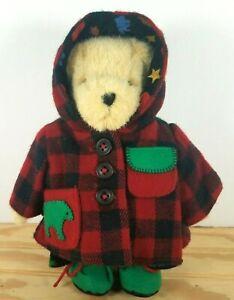 MUFFY VANDERBEAR Plush Bear Toy All Spruced Up Adirondack Red Plaid Jacket EUC
