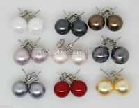 Wholesale 9Pairs 10mm Round Shell Pearl 925 Silver Stud Earrings