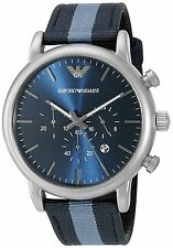 Emporio Armani Men's AR1949 Dress Chronograph Blue Dial Blue Striped Nylon Watch
