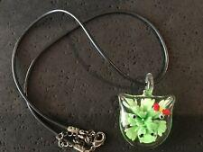 Flower On Black Cord Necklace 16� Fun Blown Glass Pig Face W/Greenish Zinnia