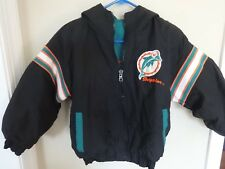 9e62fefd3 EUC Pro Player NFL Miami Dolphins Zipped Front Coat W Hood Youth M  Reversible
