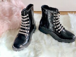 new Womens Chelsea Ankle Boots Studs Chunky Low Heel Croc Diamante winter shoes
