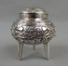 Antique Chinese Export Solid Silver Tripod Salt / Pepper Cellar c1900 14.3 gr.