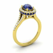 10K Yellow Gold 2.06CTW SAPPHIRE & DIAMOND HALO-STYLE SOLITAIRE ENGAGEMENT RING