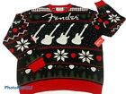 Fender Mens Pullover Sweater Black Red White Long Sleeve Ugly Christmas XL New
