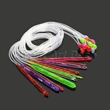 "12 Size Flexible Plastic Afghan Tunisian Crochet Hooks 48"" Weave Needles 1.2M"