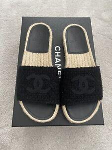 CHANEL espadrilles / Slides / Mules / Sandals . Size37. Black Tweed. BNIB