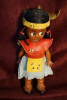 Vintage Celluloid Plastic Indian Girl Leather Dress Beads & Sleepy Eyes Doll