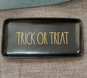 New Rae Dunn Trick Or Treat Halloween Tray 2017 Rare Orange LL Mint With Tag HTF
