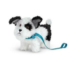 New American Girl Melody's DOG Bo-Mel Black & White Puppy Pet~Blue Leash Collar