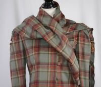 Becky Bisoulis Women's Skirt Suit Size 6 Tartan Plaid Drape With Scarf Colorful