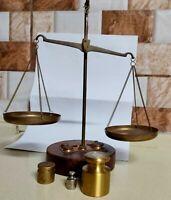 Scale Gold Balance Antique Vintage Brass Set 8 Weights Cast Copper Base Wood Old